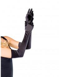 Gants extra longs noirs en satin femme