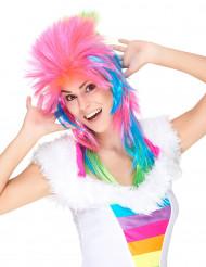 Perruque chanteuse de rock multicolore femme