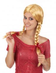 Perruque blonde couettes écolière femme