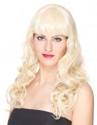 Perruque luxe blonde ondulée avec frange femme - 221g