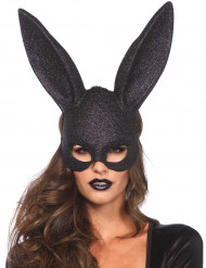 Masque lapin noir pailleté adulte