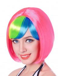 Perruque courte rose frange multicolore femme - 110g