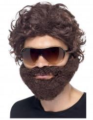Perruque avec barbe marron adulte