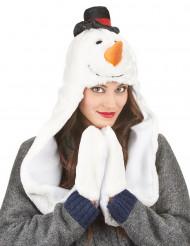 Bonnet avec écharpe bonhomme de neige adulte Noël