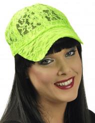 Casquette dentelle verte fluo femme