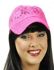 Casquette dentelle rose fluo femme