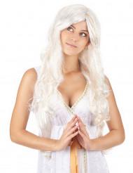 Perruque longue ange avec fils dorés femme