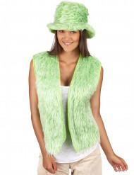 Gilet peluche vert adulte