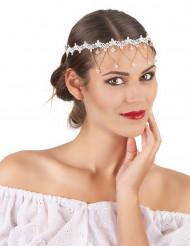 Bijou tour de tête blanc femme