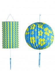 2 Lanternes bleues et jaunes Hawaï