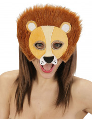 Demi masque peluche lion adulte
