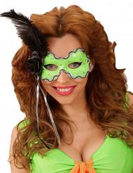 Loup vert avec plume noire femme