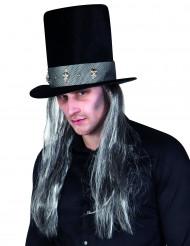 Chapeau haut de forme gothique avec cheveux adulte Halloween