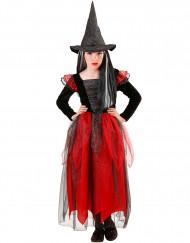 Déguisement sorcière noire et rouge fille Halloween