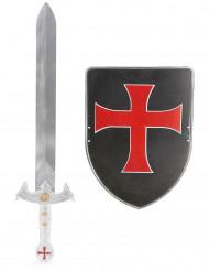 Kit bouclier et épée de chevalier croisé en plastique pour Enfant