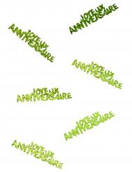 Confettis Joyeux anniversaire vert excellence