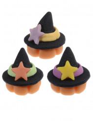 3 Chapeaux de sorcière en pâte d'amande