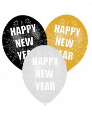 6 Ballons de baudruche Happy New Year