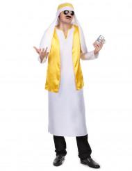 Déguisement cheikh arabe blanc et jaune homme