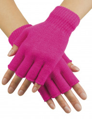 Mitaines courtes rose fluo adulte
