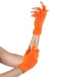 Mitaines courtes orange fluo adulte