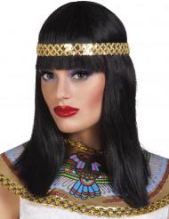 Perruque noire mi-longue avec bandeau reine du nil femme