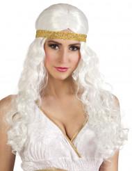 Perruque longue blanche avec bandeau femme