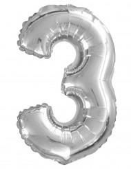 Ballon aluminium chiffre 3 argenté 35 cm