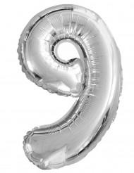 Ballon aluminium chiffre 9 argenté 35cm
