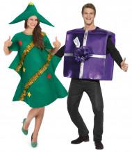 Déguisement de couple sapin humoristique et cadeau violet Noël