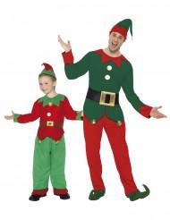Déguisement de couple elfes de Noël père et fils