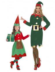 Déguisement de couple elfes de Noël mère et fille