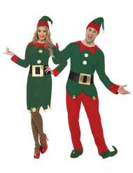 Déguisement de couple elfes du Père Noël adulte
