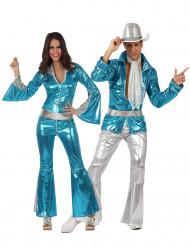 Déguisement de couple disco bleu adultes