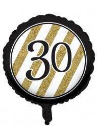 Ballon aluminium Noir et or 30 ans 46 cm