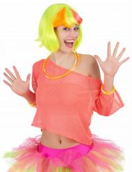 T-shirt fluo rose années 80 femme