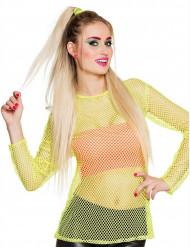 T-shirt fluo jaune années 80 femme
