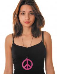 Collier pendentif peace rose fluo adulte