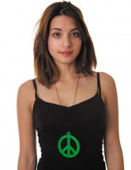 Collier pendentif peace vert fluo adulte