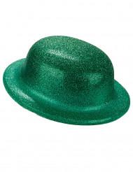 Chapeau melon pailletté vert adulte