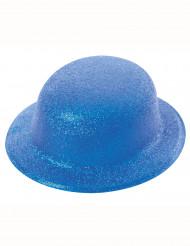 Chapeau melon pailletté bleu adulte