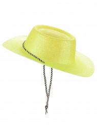 Chapeau cowgirl jaune à paillettes adulte