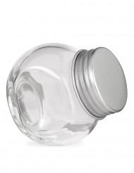Petit pot en verre avec couvercle en acier 5 x 5.5 cm