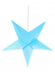 Suspension lanterne étoile bleu glacier 60 cm