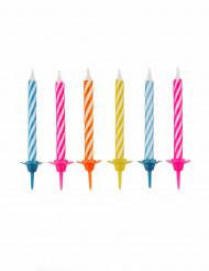 10 Bougies anniversaire colorés avec bobèches