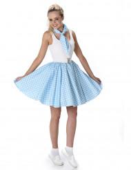Déguismeent années 50 bleu clair à pois femme