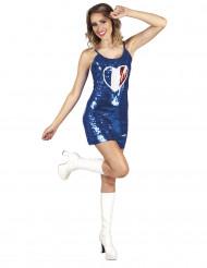 Déguisement robe bleue avec coeur tricolore France femme