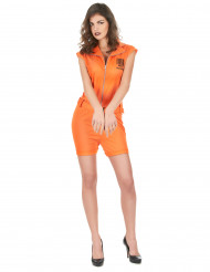 Déguisement prisonnière short sexy orange femme