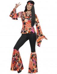 Déguisement hippie noir et multicolore femme
