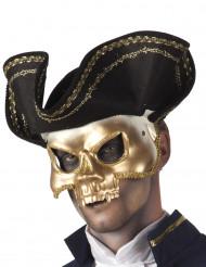 Masque doré avec chapeau pirate adulte
